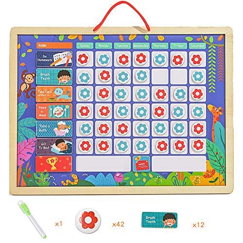 HBIAO Belohnungstabelle, Meine Verantwortungstabelle für mehrere Kinder Familienkalender Tafelplaner Magnetisches Belohnungssystem Kinderarbeitstabelle