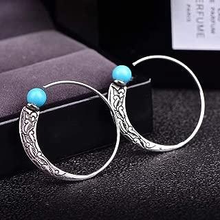 JESMING New Retro Thai Silver Turquoise Earrings European and American Female Punk Earrings Earrings Hook Multi-Color one Size