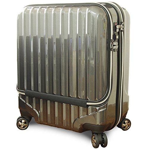 OUTLET スーツケース 機内持込 MAX 40l 軽量 小型 フロントオープン ダブルファスナー 8輪 S 【W-Receipt】 キャリーケース キャリーバッグ 前ポケット (Sダブルキャスター-40L, ブラック)