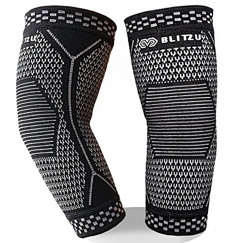 BLITZU Elbow Brace (1 Pair) for Men & Women - Compression Sleeves Support for Tendonitis, Tennis Elbow, Golf Elbow, Arthritis Treatment, Gym Workout, Weightlifting, Pain Relief, & Recovery