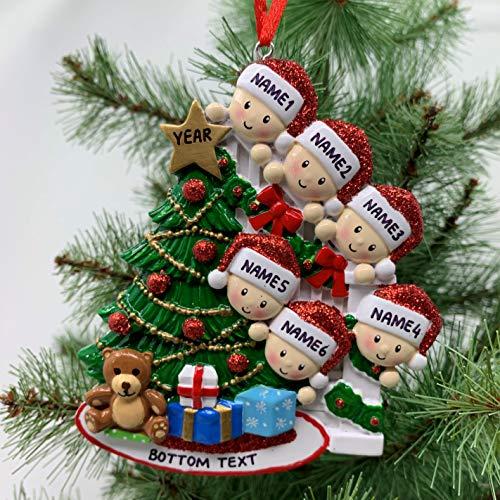 Peeking Family Ornament Personalized Ornament for Christmas Family of 2 3 4 5 6 7 Custom Ornament (Family of 6)