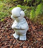 Gartenfigur lächelnde Schildkröte Elvira frostfest Deko für außen Garten Balkon Terassen Hochbeete Balkonkasten Steinfigur