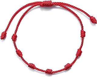 Armband, rode Böser privacybescherming, 7 knopen, kabelbalah, rood koord, geluksarmband, voor dames en heren, verstelbaar ...