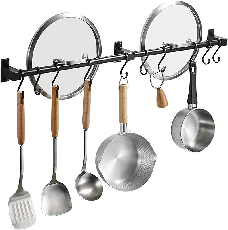 BESy 31 5 Inch Black Hanging Pot Rack Wall Mounted Lid Holder Detachable Rail Kitchen Utensils Pan Hanger With 10 Detachable S Hooks Wall Mount With Screws