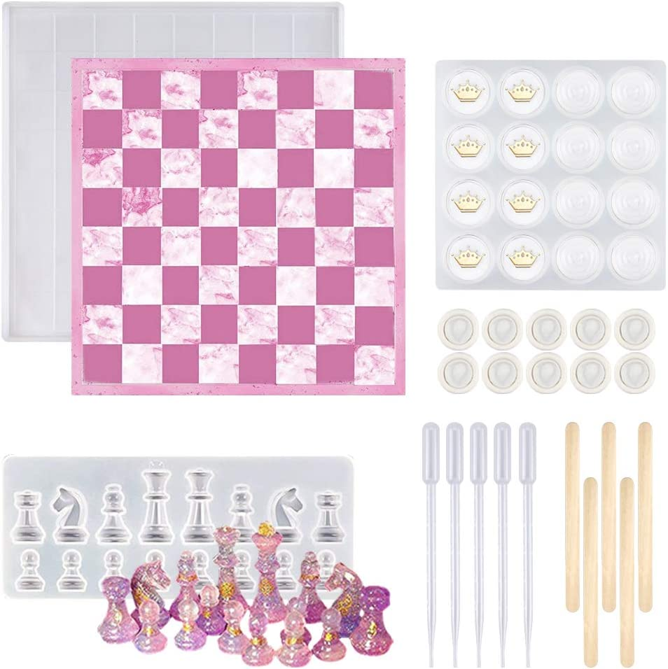 Chess Checker Resin Molds 23PCS 3D Mold Pieces Max 53% OFF Silicone Rare
