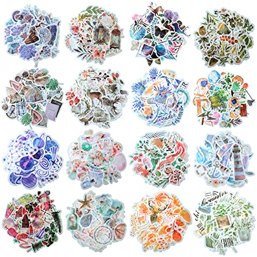 640 Pieces 16 Sheets Watercolor Various Theme Stickers for Including Palm Leaf Flamingo Unicorn Crystal Plant Surfboard Travel Case Laptop Planners Calendars Scrapbook Suitcase Notebooks