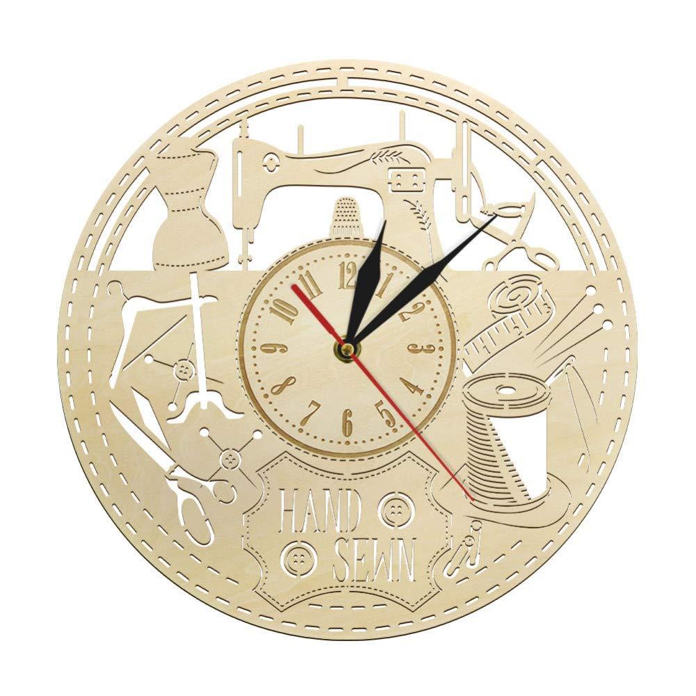 XUZHUO Máquina de Coser Instrumentos Reloj de Pared de Madera Acolchado costurera Reloj de Pared Vintage decoración de Sala de Costura Regalo de Amante de Costura para mamá: Amazon.es: Hogar