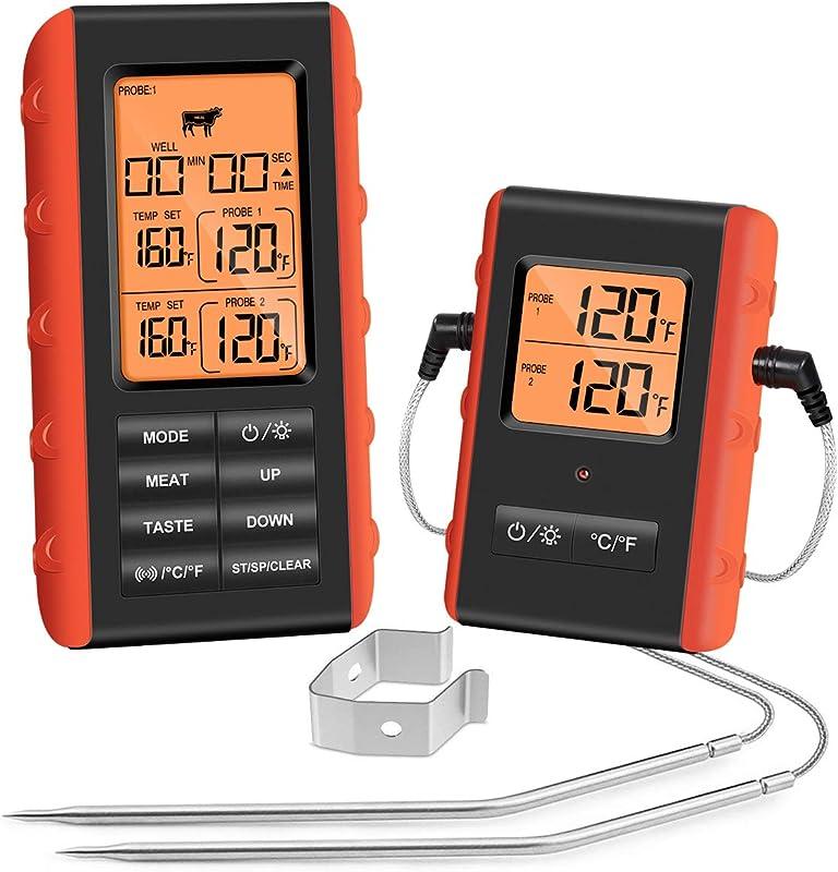 Wireless Meat Thermometer Remote Digital Cooking Thermometer With 2 Probes Grill Thermometer For Oven Kitchen Smoker BBQ 328 Feet Range