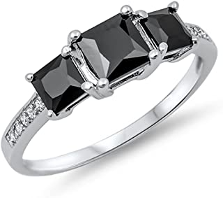 Oxford Diamond Co 3 Stone Princess Cut Simulated Black Onyx .925 Sterling Silver Ring Sizes 4-11