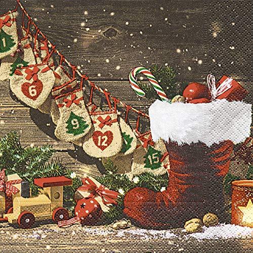 20 Servietten Nikolaus Stiefel Advent Weihnachten 33 x 33 cm
