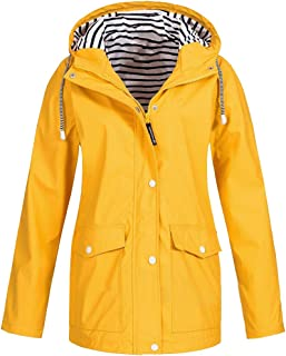 BOZEVON Women's Lightweight Hooded Raincoat Outdoor