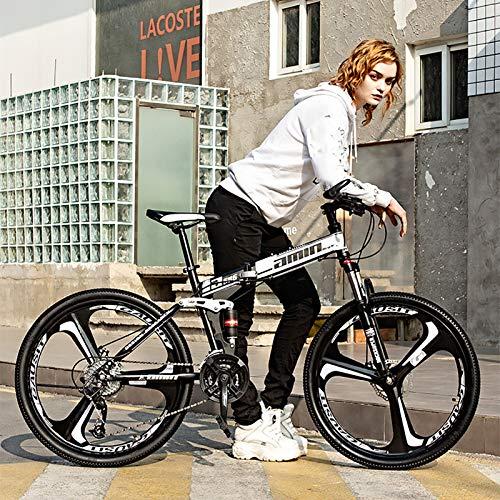 XUELIAIKEE 3 Spoke Wheels Mountain Bike,Folding Bike 26inch Steel Frame Mountain Bike MTB Dual Suspension Double Disc Brake Bicycles for Adult Teens