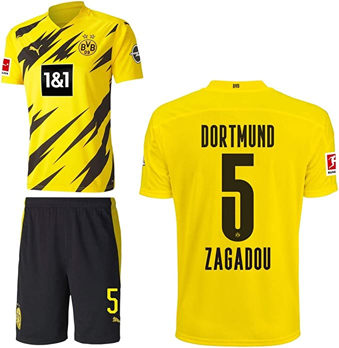 PUMA Borussia Dortmund BVB Home Set 2020 2021 Home Kit Sponsor BL Logo Uomo Bambino Nome Giallo