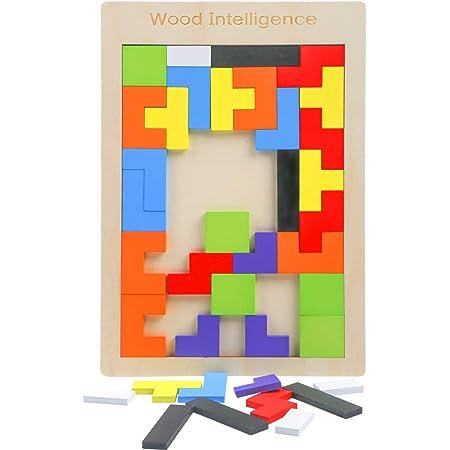 LOKIPA 木製パズル テトリス ジグソーパズル おもちゃ 1個セット パズル 子供