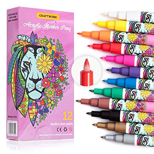 Craftwork -Wasserfeste Acrylstifte, 12 Farben 0.7mm Permanent Marker Stifte Acrylstifte Paint Pen, Schnelltrocknender Bemalen Stifte für Keramik/Steine/DIY Fotoalbum/Papier/Glas - Non-Toxic