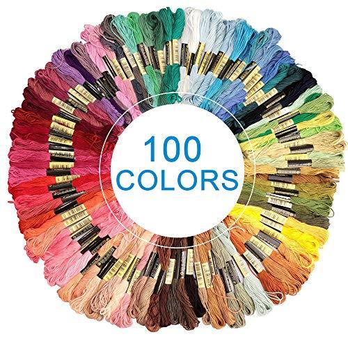 Eyscoco Stickgarn,Embroidery Floss Baumwolle Polyester Weicher Multifarben Knüpfgarn, Perfekt Garn für Freundschaftsbänder und Stickerei Basteln Leisure Arts (100)