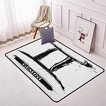 Zodiac Gemini Children's Bedroom Carpet Grunge and Artistic Brushstroke Design Horoscope Icon Astrology Symbol Soft Fluffy W47.2 x L71 Inch Black and White