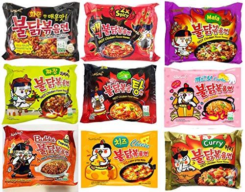 (9 Flavors) Samyang Spicy Chicken Hot Ramen Noodle Buldak Variety Pack - 9 Different Flavors of Samyang Hot Chicken Ramen