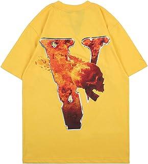 Arnodefrance V Letter Flame Skull Print Tshirt Hiphop Rapper Cotton Crewneck Tee Shirt