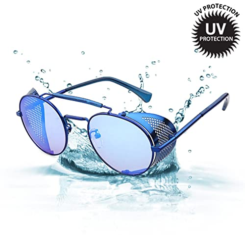 3b5c7b6745 Sunglasses Side Shield Steampunk Vintage Cool UV Protection Round Glasses  For Women Men