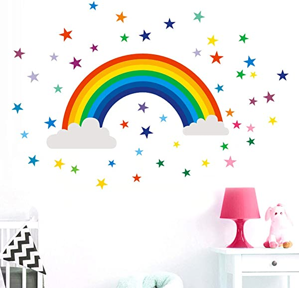 Motop 3D Adhesive Vinyl Wall Door Sticker Rainbow Sign Removable Wall Sticker Art Nursery Decals Kids Room Home Decor Gift Bathroom Living Room Wall Window Decor 30 X 60cm