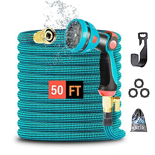 Tubo Acqua Giardino Estensibile flessibile Retrattile tubo dell'acqua 15M/50FT 10 modalità ugello pistola ad acqua Tubo Estensibile da Giardino Canna Acqua per Irrigazione Camper Cortile Autolavaggio