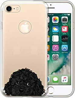 FINCIBO Case Compatible with Apple iPhone 7 2016 / iPhone 8 2017 4.7 inch, Clear Transparent TPU Protector Case Cover Soft Gel Skin for iPhone 7/8 (NOT FIT 7 Plus, 8 Plus) - Black Toy Poodle Dog