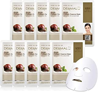 Best DERMAL Snail Collagen Essence Facial Mask Sheet 23g Pack of 10 - Skin Regenerating & Trouble Care for Acne Prone Skin, Daily Skin Treatment Solution Sheet Mask Review