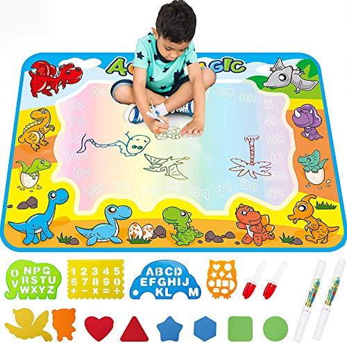 gambits Water Drawing Mat,Kids Toddlers Writing Painting Toy Board Educational Toys for Age 3 4 5 6 7 8 Year Old Boys Girls,Neon Color Writing Drawing Mat Best Holiday Christmas Birthday Gifts Toys