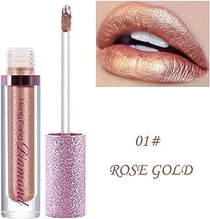 Diamond Glitter Lipstick Hosamtel Waterproof Long Lasting Nude Lipstick Metallic Lip Glosses Lip Toppers Shimmer Liquid Lip Makeup Kit (01#)