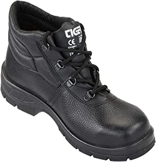Mallcom Tiger Leopard High Ankle PU Sole Leather Safety Shoes ISI (7)