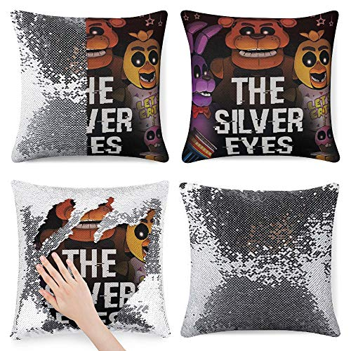 Fi-ve Nigh-ts at Freddy's - Funda de almohada reversible con purpurina y secuencia de moda, funda de almohada mágica con lentejuelas, funda de cojín decorativa que cambia de color, estilo plateado 1