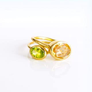 Mom Ring Set Combo, Custom Birthstone Ring Set, Mother Daughter Ring Set, Stacking ring set, Christmas Gift for Mom, Citrine Peridot Ring, Large & Small Oval Ring Combo
