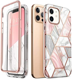 i-Blason Cosmo Series Case for iPhone 12, iPhone 12 Pro 6.1 inch (2020 Release), Slim Full-Body Stylish Protective Case with Built-in Screen Protector (Marble)