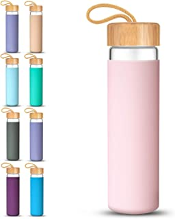 Tronco 20oz Glass Water Bottle with Silicone Protective Sleeve and Bamboo Lid - BPA Free