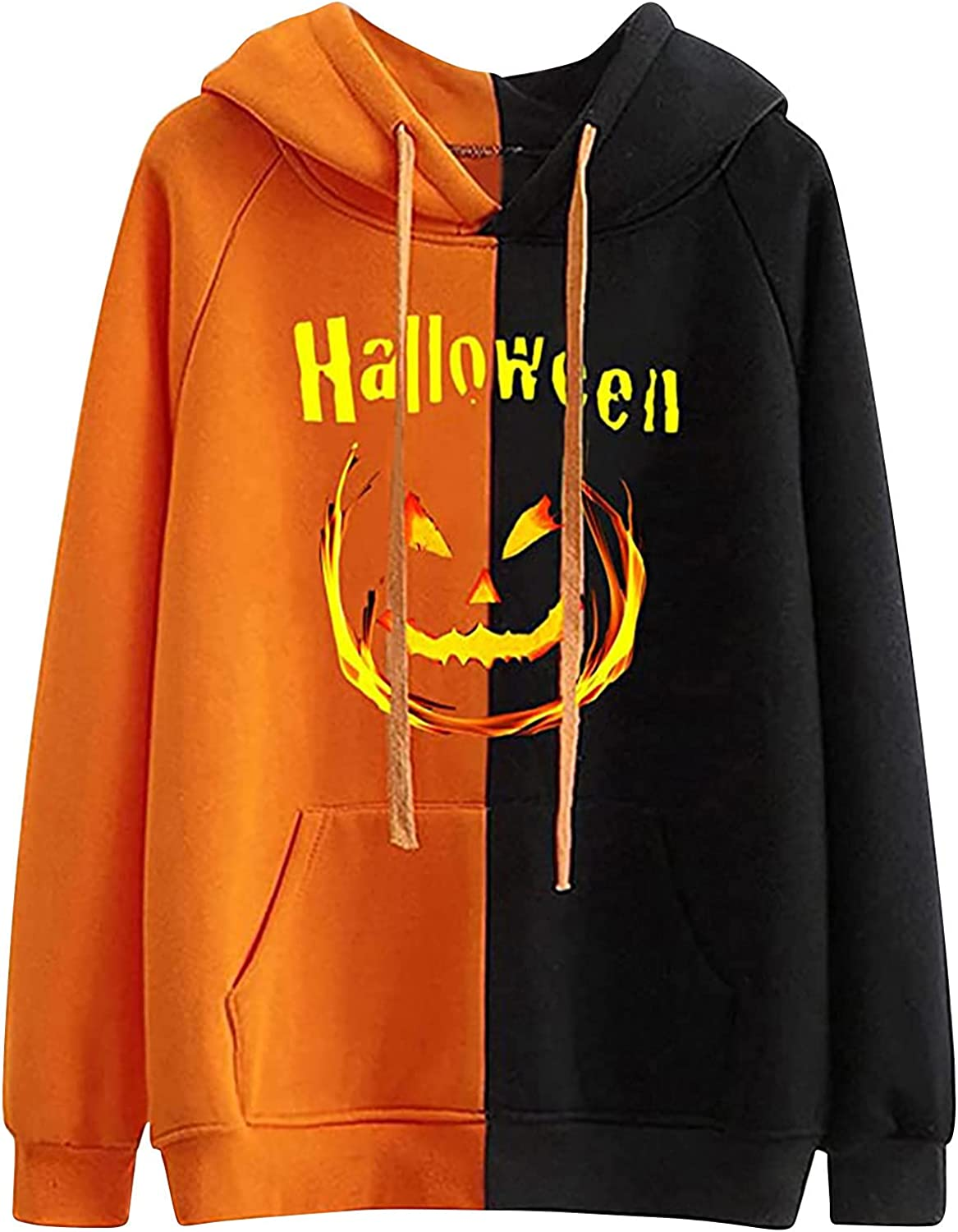 BOXIACEY Women's Halloween Hoodies Pullover Fashion Color Matching Blouse Casual Long Sleeve Drawstring Sweatshirts