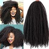 4Pcs Crochet Marley/ Havana Braids Hair Synthetic Afro Kinky 4Pcs/ Lot 18 Inch Women Fashion Twist Crochet Braiding Hair Extensions (18'- 4PCS, Dark Brown)
