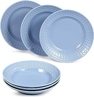 suntun Assiettes Creuses Porcelaine 6 pièces, 230ml Bleu Assiette à Soupe Pâte, New Bone China Service de Table Vaisselles...
