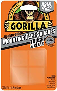 Gorilla Tough & Clear Double Sided Mounting Tape Squares, Hanging, Weatherproof, Instant Hold, 24 - Pre-Cut Squares 25.4mm...