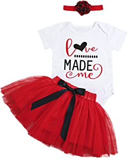 Newborn Baby Girls 3 6 12 18 Months First Valentines Day Outfit Love Made Me Rompers+Princess Tutu Skirts+Headband Clothing Set 3-6 Months Red