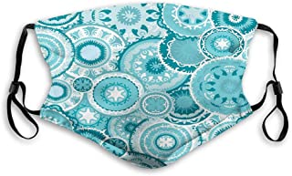 Comfortable Printed mask,Aqua, Hippie Floral Leaves Mandala Rounds Traditional Elements Print,Turquoise White,Windproof Facial decorations for Adults Size:M