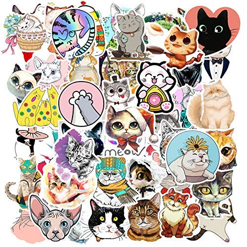 YAMIOW Waterproof Vinyl Stickers for Water Bottle, Skateboard, Guitar, Laptop, Table, Car, Suitcase, Luggage Decal Graffiti Stickers (at Least 50 pcs for Cat Style)
