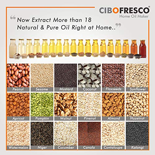 CIBOFRESCO Home Oil Maker (सिबोफ्रेस्को)|Automatic Oil Extractor|230 watts|Cold Press Oil Machine |Easy To Use, Easy to Operate |Digital Display |Application Based Support (12 Month Warranty)