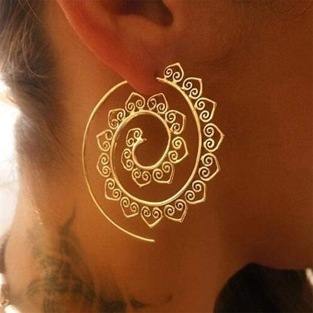 Myhouse Bohemian Spiral Earrings Long Dangle Heart Spiral Earring for Women Girls, Gold Color