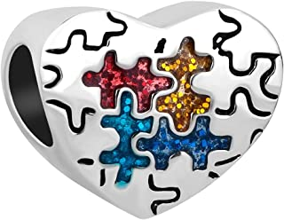 LuckyJewelry Charms Autism Awareness Puzzle Piece Heart Charm Beads for Charm Bracelets