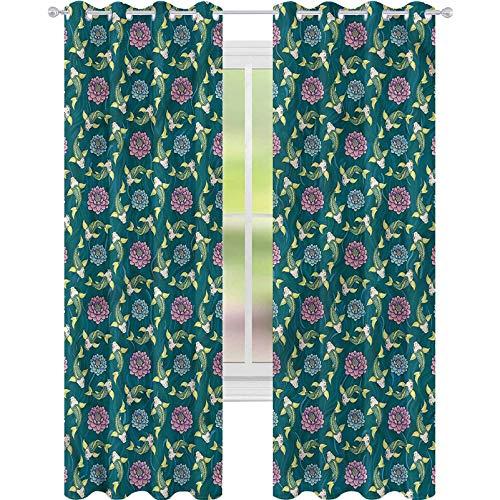 YUAZHOQI Cortinas opacas de pescado tradicional Carpa Koi Lily Personalizadas Cortinas de 52' x 84' (2 paneles)