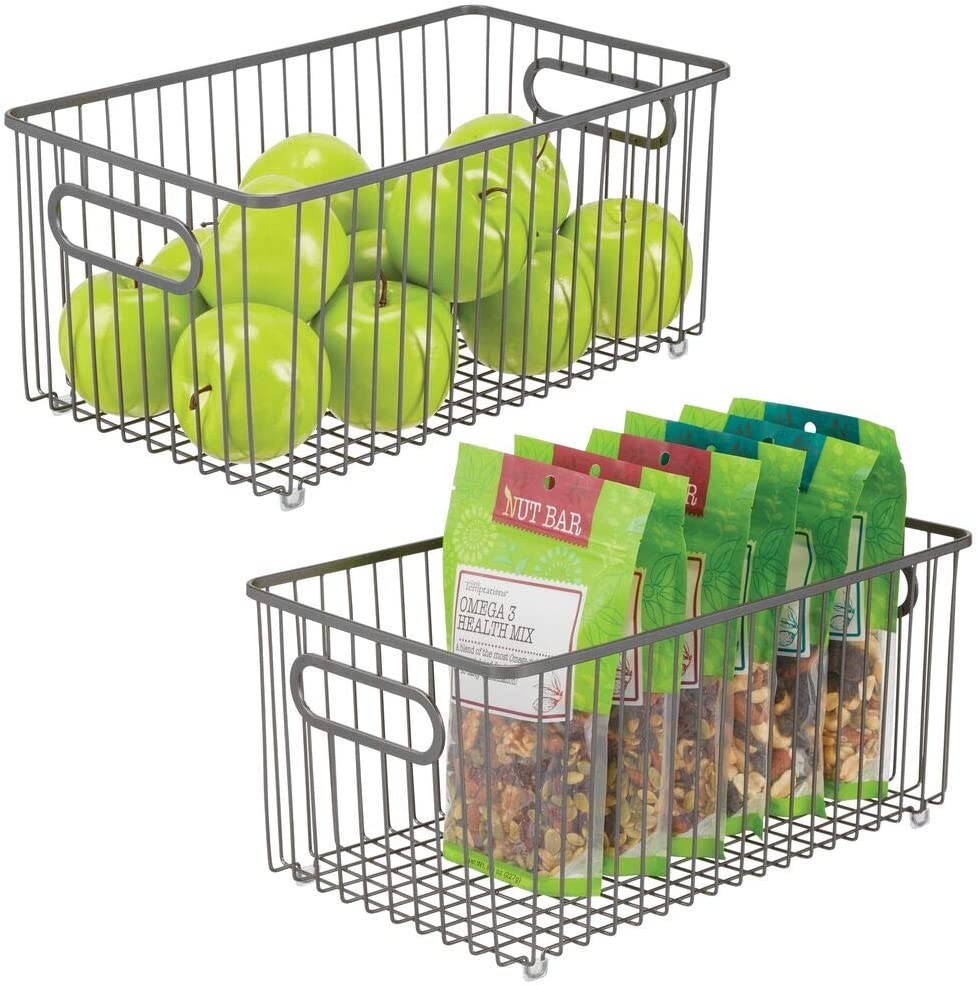 mDesign Metal Over item handling Farmhouse Kitchen Pantry Ba Quality inspection Storage Food Organizer