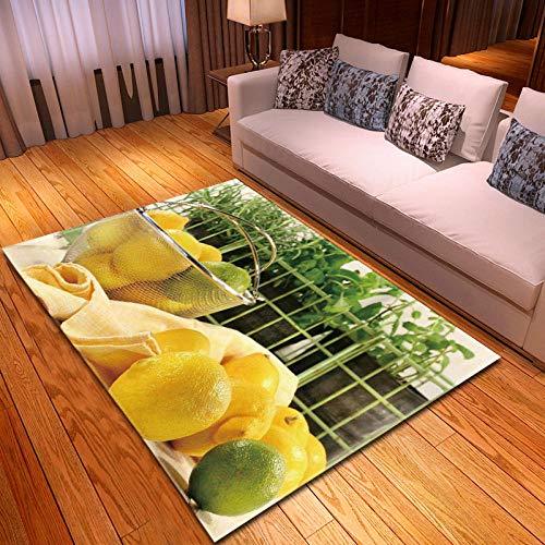 RGBVVM Alfombra Salón Limón Amarillo 160 x 230 cm Alfombra Salon Grandes Shaggy - Alfombras Dormitorio Modernas Lavables Fácil de Limpiar, Superficie Suave, Pelo Corto
