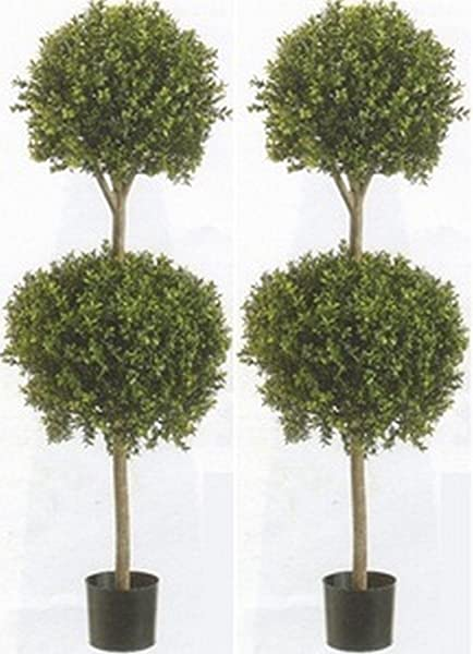 Two 56 Inch Artificial Boxwood Double Ball Topiary Trees Potted