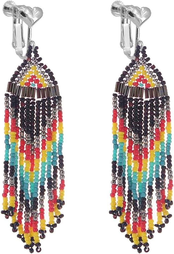Bohemian Handmade Multi Color Fringe Clip on Earrings Long Bead Tassel Dangle Drop Wedding Prom Earring